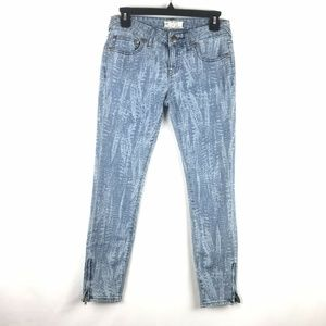 Free People Skinny Jeans Ankle Blue Zippers Grass
